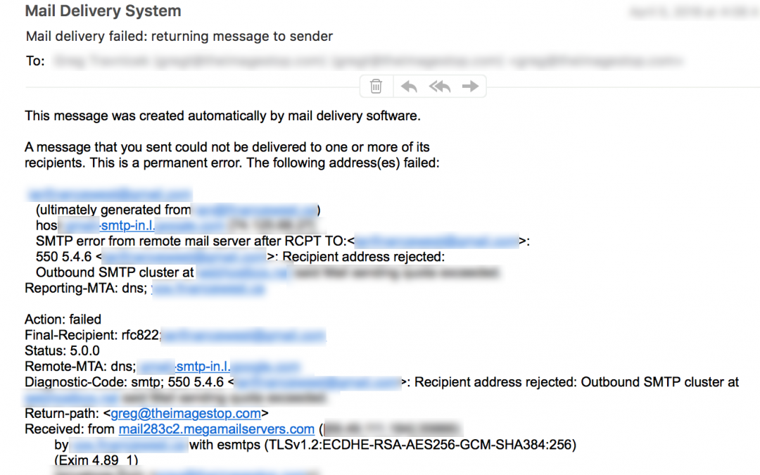 550 SPAM error message – flagging YOUR email?