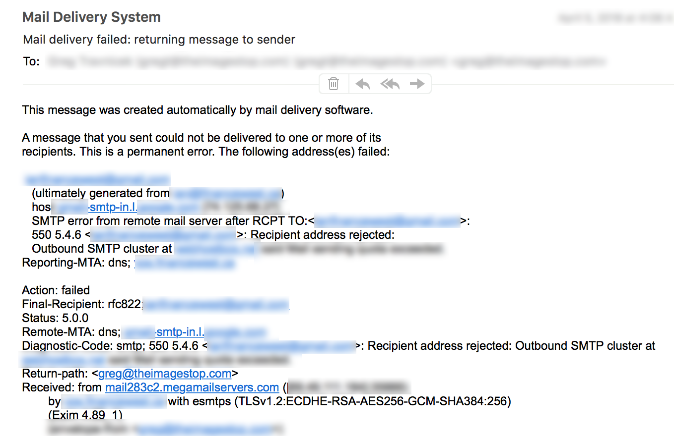 550 SPAM Error Message Flagging YOUR Email